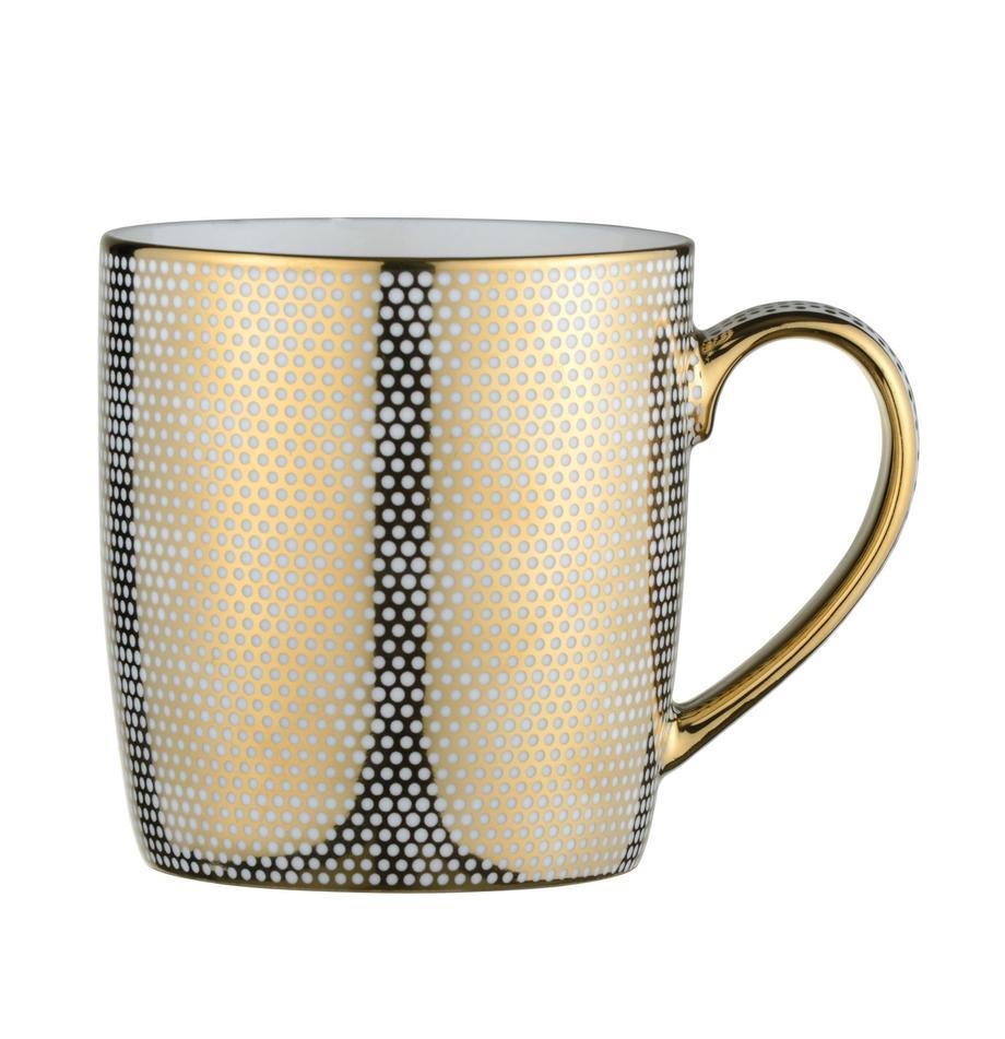 Kubek Dots, 4 szt., Porcelana, Biały, odcienie złotego, Ø 9 x W 10 cm