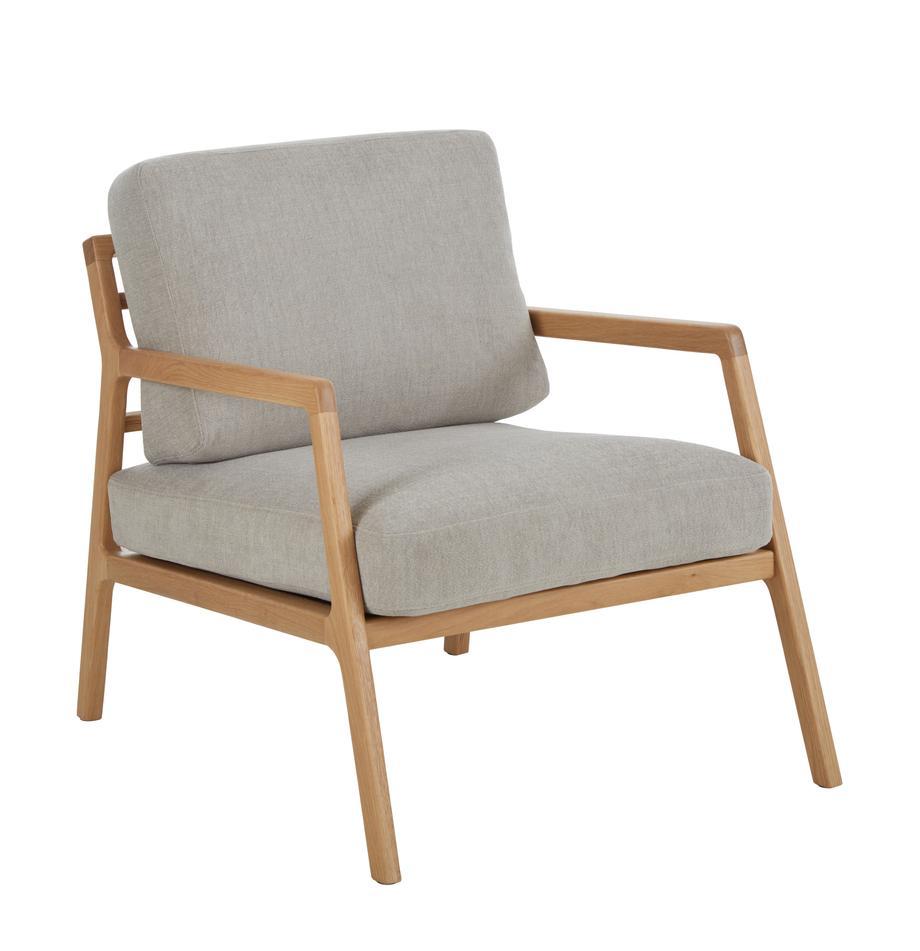 Fauteuil Becky van eikenhout, Bekleding: polyester, Frame: massief eikenhout, Geweven stof grijs, B 73 x D 90 cm