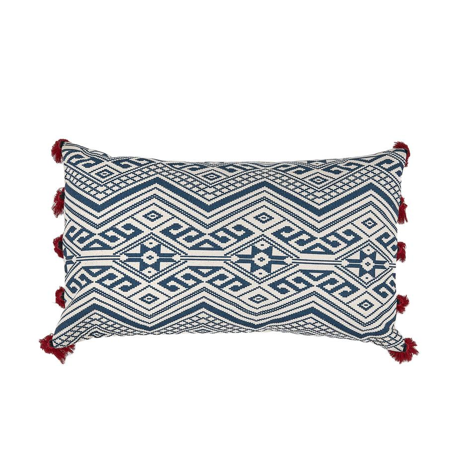 Federa arredo con nappe Cerys, 100% cotone, Blu, rosso, crema, Larg. 30 x Lung. 50 cm