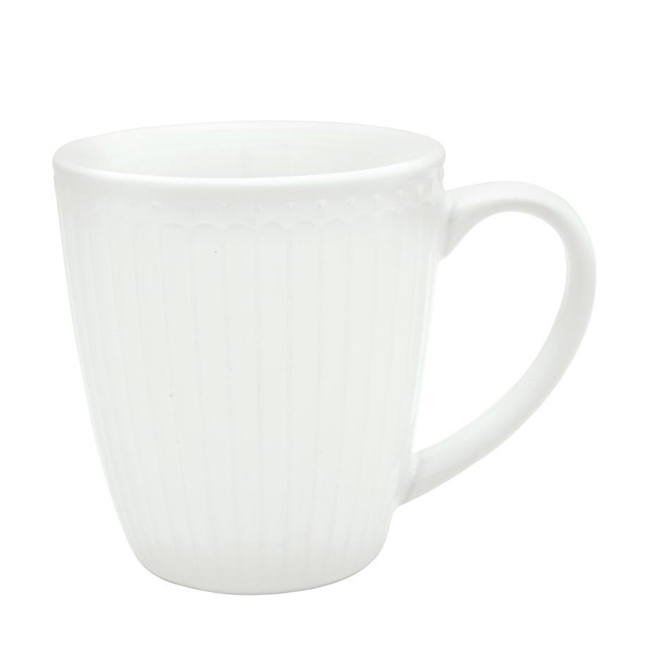Handgemachte Tassen Alice in Weiß mit Reliefdesign, 2 Stück, Steingut, Weiß, Ø 10 x H 10 cm
