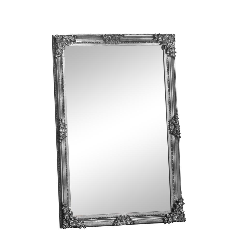 Eckiger-Wandspiegel Fiennes, Rahmen: Holz, lackiert, Spiegelfläche: Spiegelglas, Silberfarben, 70 x 103 cm