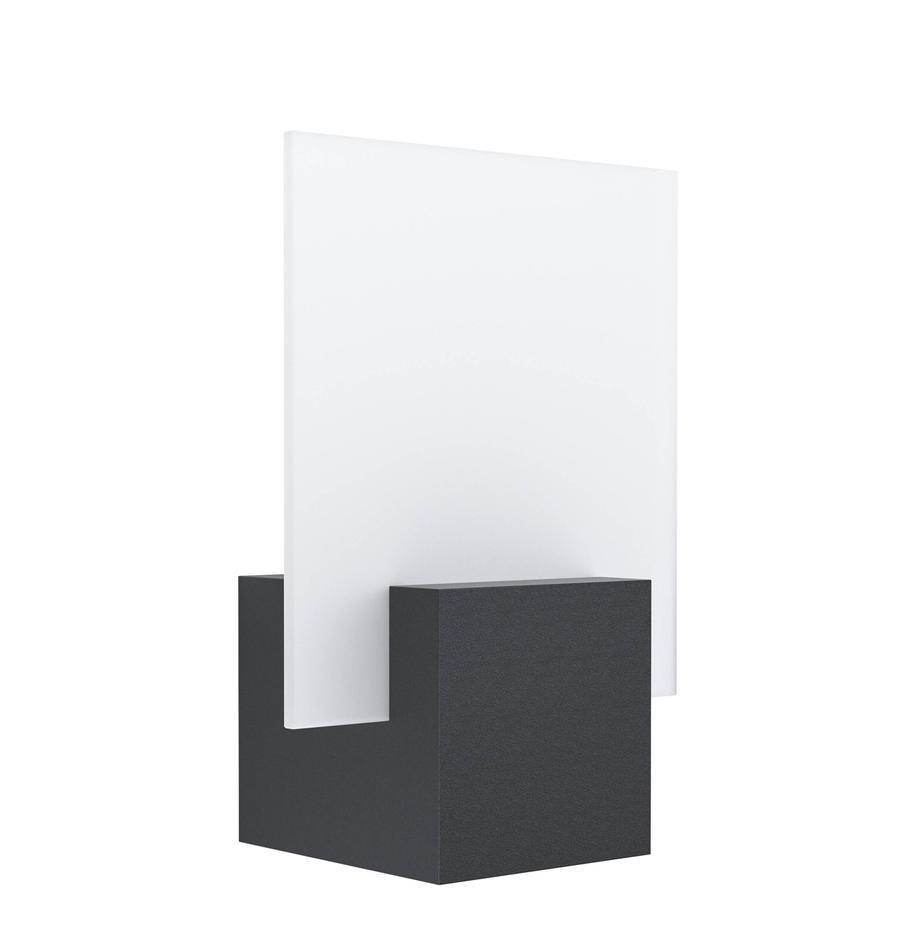 LED-Außenwandleuchte Adamello, Lampenschirm: Glas, satiniert, Schwarz, Weiß, 20 x 28 cm