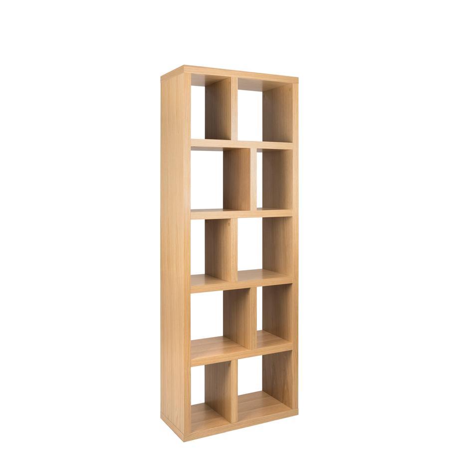 Libreria con rivestimento in legno di quercia Portlyn, Rivestimento: pannello di fibra a media, Superficie: impiallacciatura naturale, Legno di quercia, Larg. 70 x Alt. 198 cm