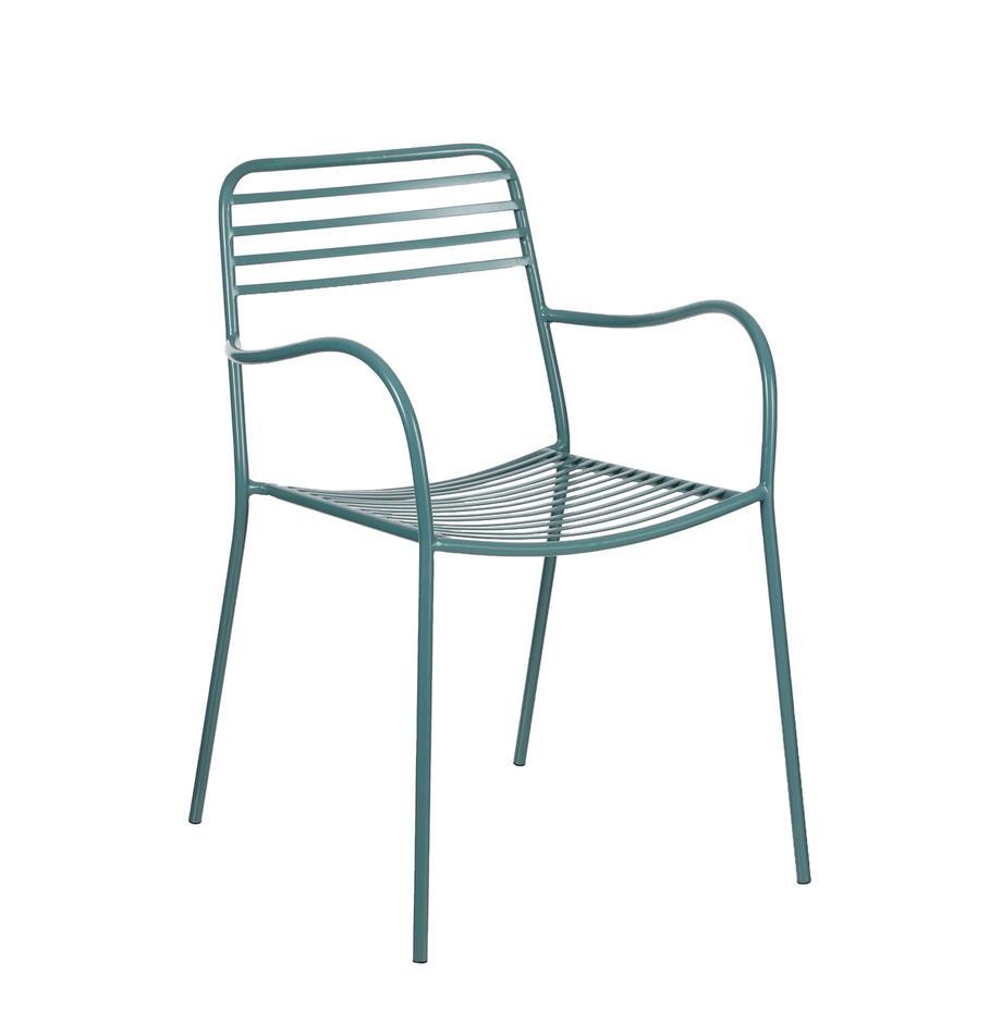 Balkon-Armlehnstühle Tula aus Metall, 2 Stück, Metall, pulverbeschichtet, Grün, B 50 x T 60 cm