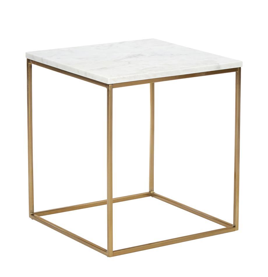 Marmeren bijzettafel Alys, Tafelblad: marmer, Frame: gecoat metaal, Tafelblad: wit-grijs marmer. Frame: goudkleurig, glanzend, 45 x 50 cm