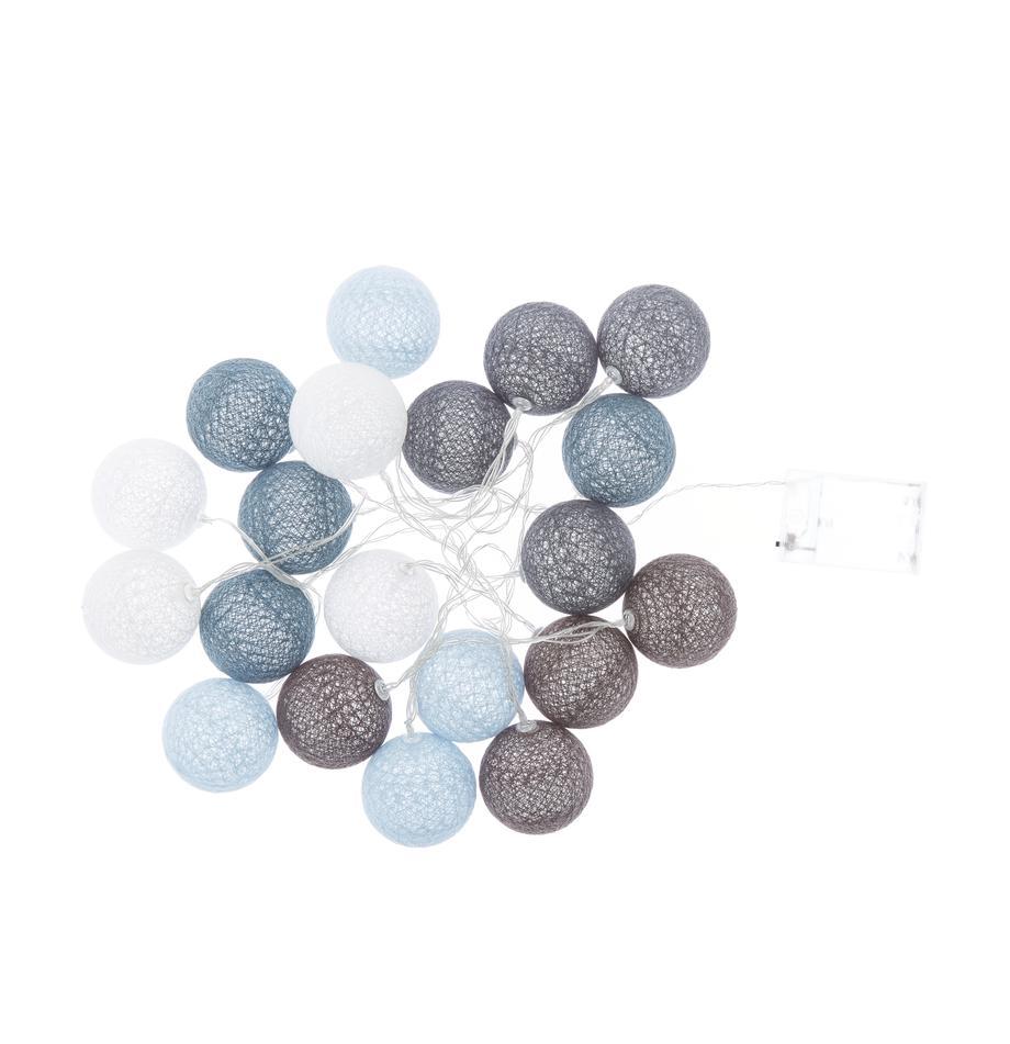 LED-Lichterkette Bellin, 320 cm, Lampions: Baumwolle, Blau, Hellblau, Dunkelblau, Weiss, L 320 cm