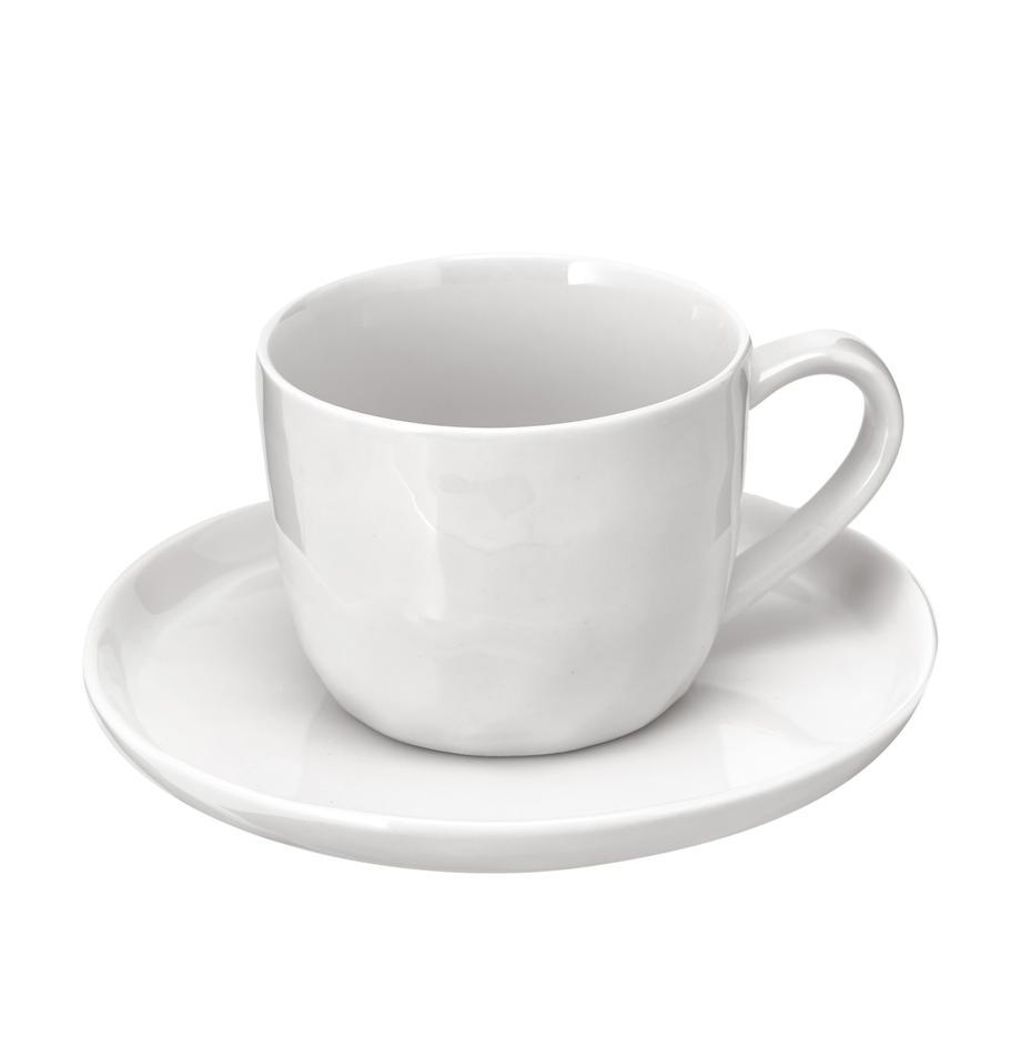 Tasse mit Untertassen Porcelino mit unebener Oberfläche, 6 Stück, Porzellan, gewollt ungleichmässig, Weiss, Ø 15 x H 8 cm