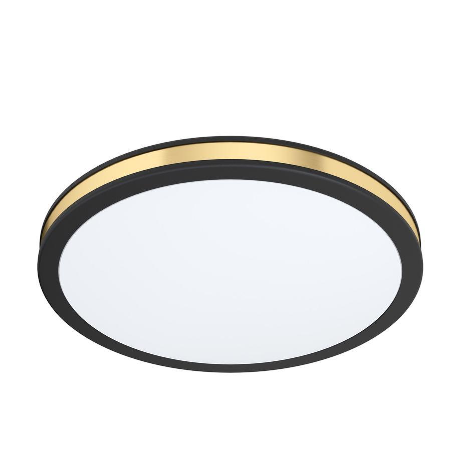 Lampada a sospensione a LED Pescaito, Paralume: materiale sintetico, Baldacchino: metallo verniciato, Nero, dorato, Ø 28 x Alt. 7 cm