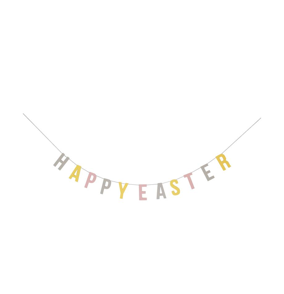 Girlanda Happy Easter, Płyta pilśniowa średniej gęstości, nici, Szary, żółty, blady różowy, S 290 x W 12 cm