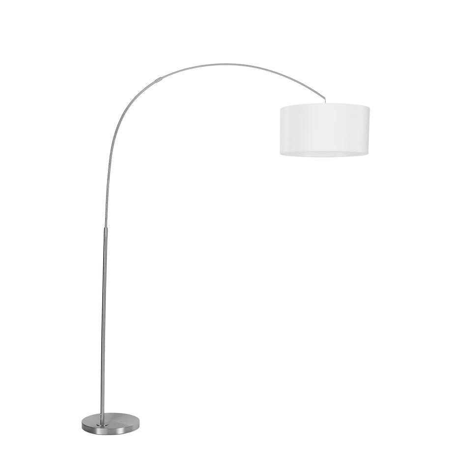 Moderne booglamp Niels in chroom, Lampenkap: katoenmix, Lampvoet: geborsteld metaal, Lampenkap: wit. Lampvoet: chroomkleurig. Snoer: transparant, 157 x 218 cm