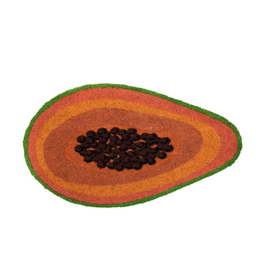 Deurmat Papaya, Kokosvezels, Oranje, bruin, groen, 40 x 70 cm