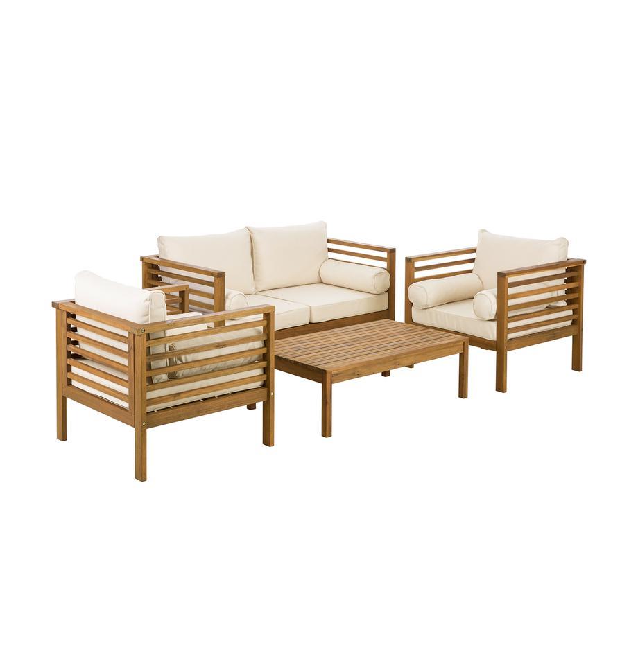 Outdoor loungeset Bo, 4-delig, Frame: geolied massief acaciahou, Bekleding: beige. Frame: acaciahoutkleurig, Set met verschillende formaten