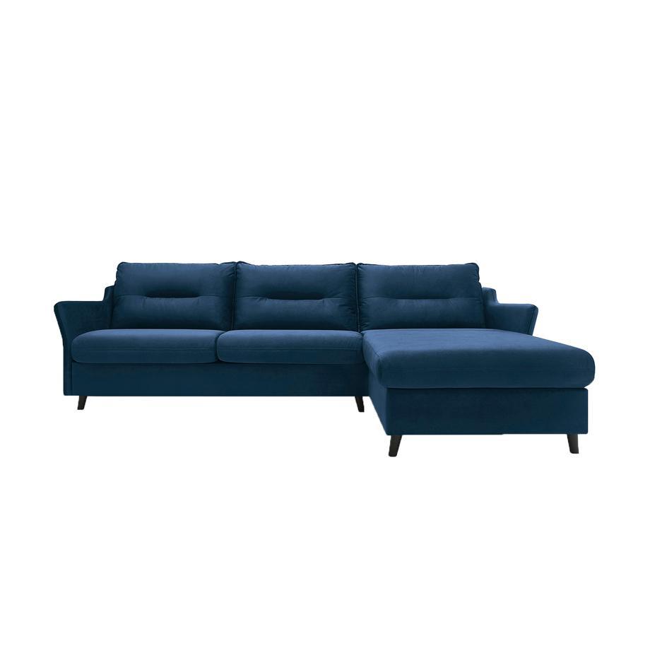 Sofa narożna z funkcją spania z aksamitu Loft, Tapicerka: 100% aksamit poliestrowy, Nogi: metal lakierowany, Granatowy, S 275 x G 181 cm