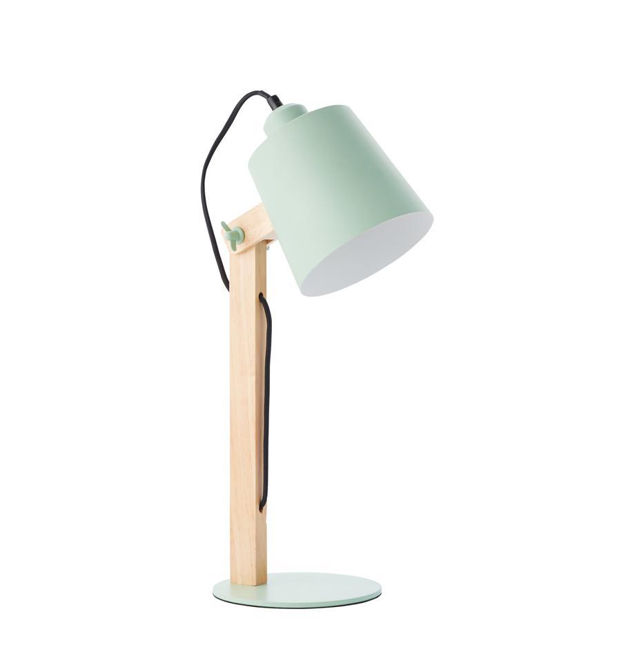 Grote bureaulamp Swivel met houten voet, Lampenkap: metaal, Lampvoet: metaal, Mintgroen, hout, 16 x 52 cm