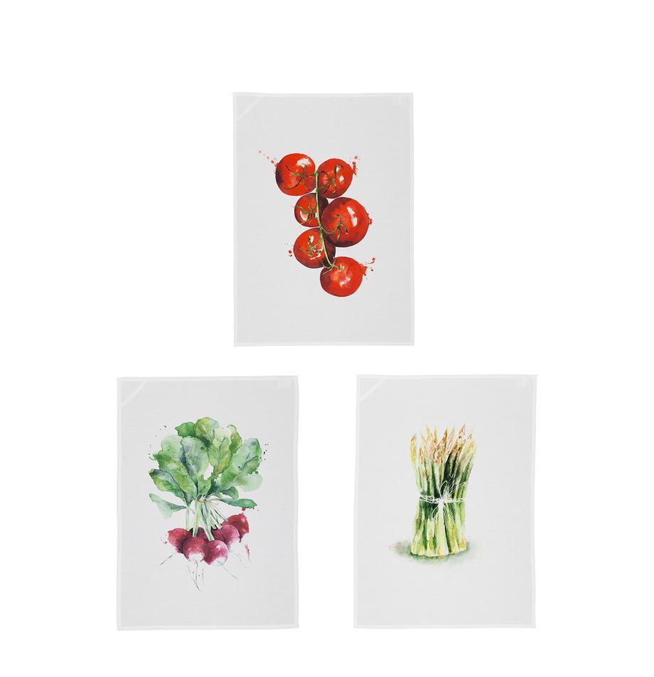 Geschirrtücher-Set Marchè, 3-tlg., Weiß, Grün, Rot, 50 x 70 cm