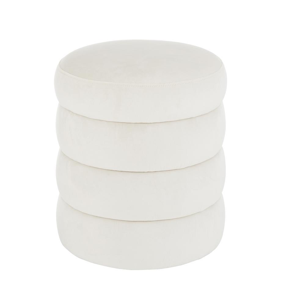 Sgabello in velluto bianco crema Alto, Rivestimento: velluto (poliestere) 30.0, Struttura: legno di pino massiccio, , Velluto bianco crema, Ø 42 x Alt. 47 cm