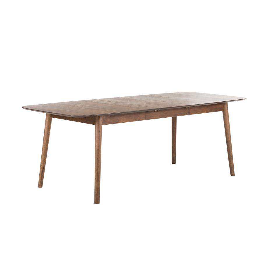 Mesa de comedor extensible Montreux, Tablero: fibras de densidad media , Patas: madera de caucho, teñidas, Nogal, marrón oscuro, An 180-220 x F 90 cm