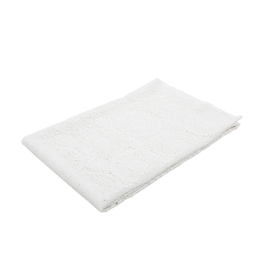 Obrus z tworzywa sztucznego Lace, Tworzywo sztuczne PVC o wyglądzie szydełkowym, Biały, Dla 8-10 osób (S 150 x D 264 cm)