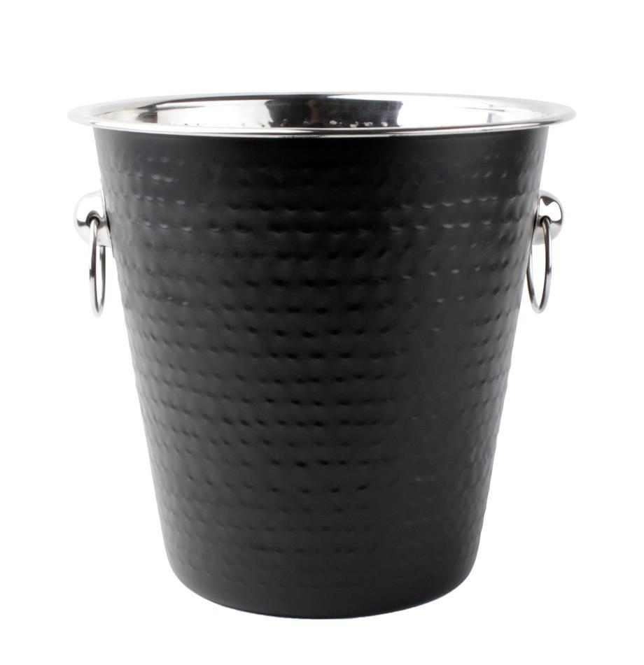 Flaschenkühler Onur in Schwarz mit gehämmerter Oberfläche, Edelstahl, beschichtet und gehämmert, Schwarz, Ø 22 x H 21 cm