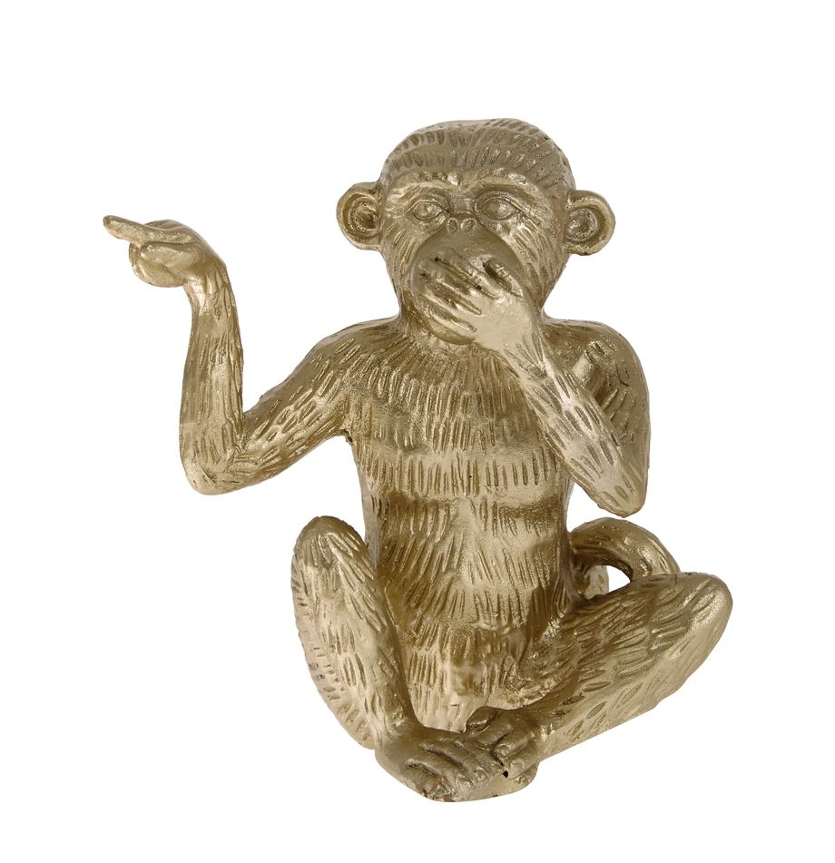 Figura decorativa Monkey, Poliresina, Dorado, An 14 x Al 15 cm