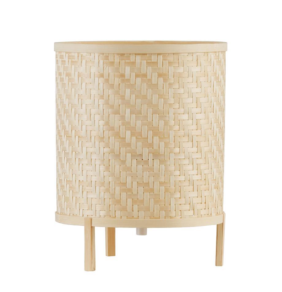 Lámpara de mesa pequeña de bambú Trinidad, Pantalla: tejido de bambú, Base de la lámpara: bambú, Cable: plástico, Marrón, Ø 19 x Al 27 cm