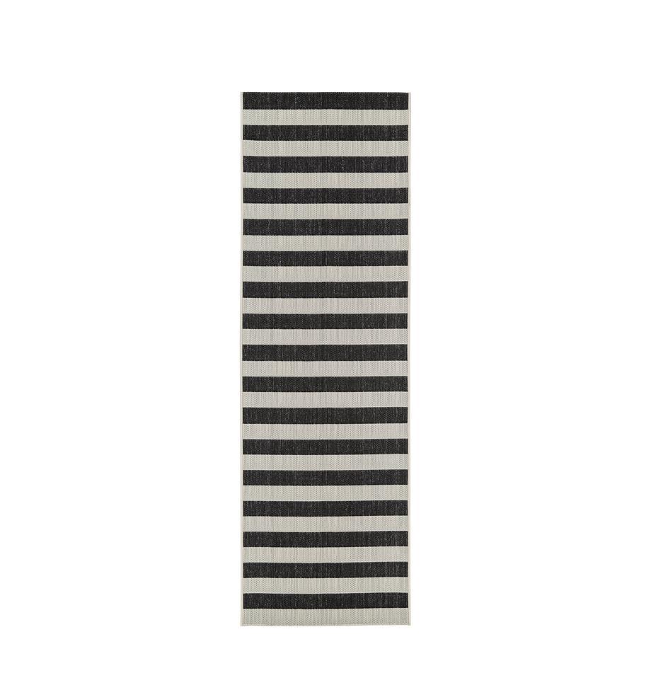 Gestreepte in- & outdoor loper Axa, Bovenzijde: polypropyleen, Onderzijde: polyester, Crèmewit, zwart, 80 x 250 cm