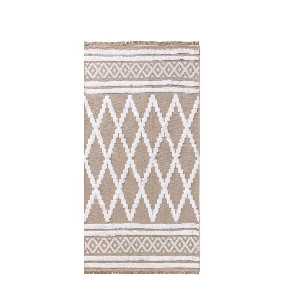 Dywan z bawełny z wypukłą strukturą Oslo Karo, 100% bawełna, Taupe, kremowobiały, S 75 x D 150 cm (Rozmiar XS)