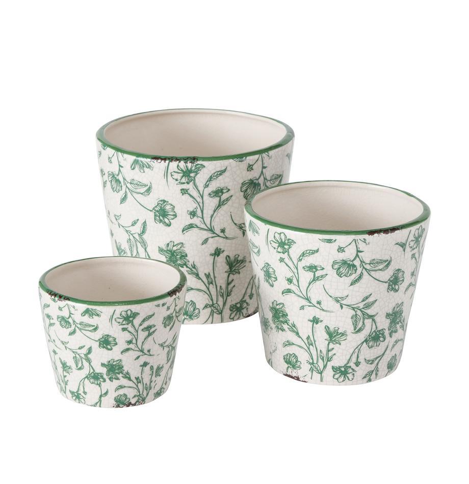 Handgemaakte bloempottenset Silka, 3-delig., Keramiek, Groen, Set met verschillende formaten
