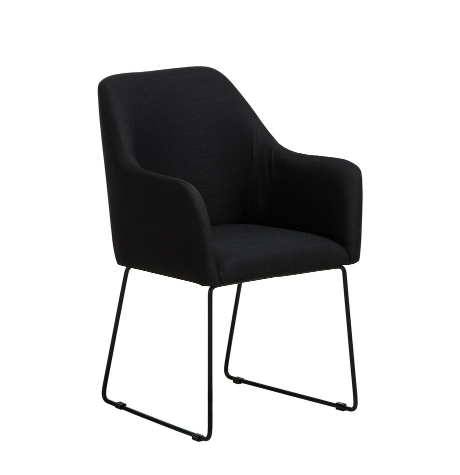 Krzesło tapicerowane z podłokietnikami Isla, Tapicerka: poliester Tkanina o wysok, Nogi: metal malowany proszkowo, Czarny, Nogi: czarny, S 58 x G 62 cm