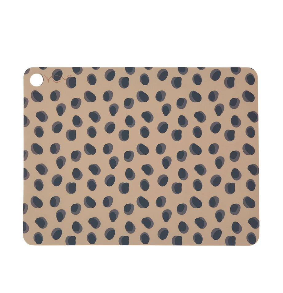 Manteles individuales Leopard, 2uds., Silicona, Marrón caramelo, negro, An 34 x L 45 cm