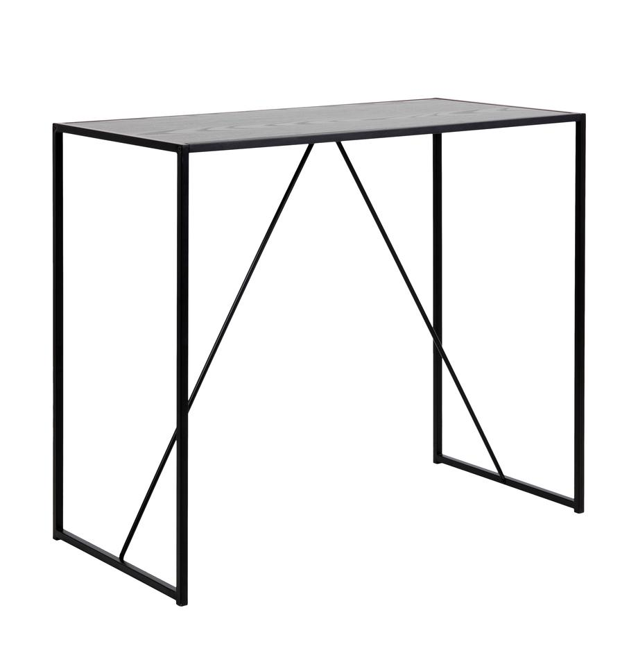 Mesa alta de madera y metal Seaford, Metal, melamina, madera de fresno, Negro, An 120 x F 60 cm