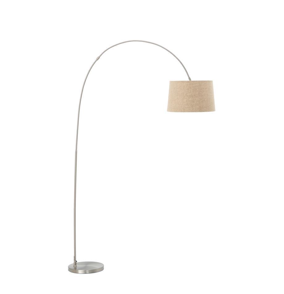Lámpara arco de algodón Laurence, Pantalla: mezcla de algodón, Cable: plástico, Beige, plateado, Ø 40 x Al 188 cm