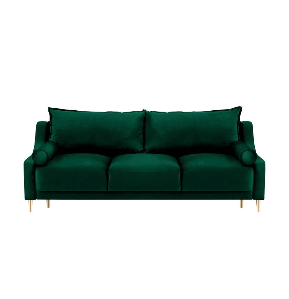 Sofa rozkładana z aksamitu z miejscem do przechowywania Lea (3-osobowa), Tapicerka: aksamit poliestrowy, Nogi: metal malowany proszkowo, Butelkowy zielony, S 215 x G 94 cm