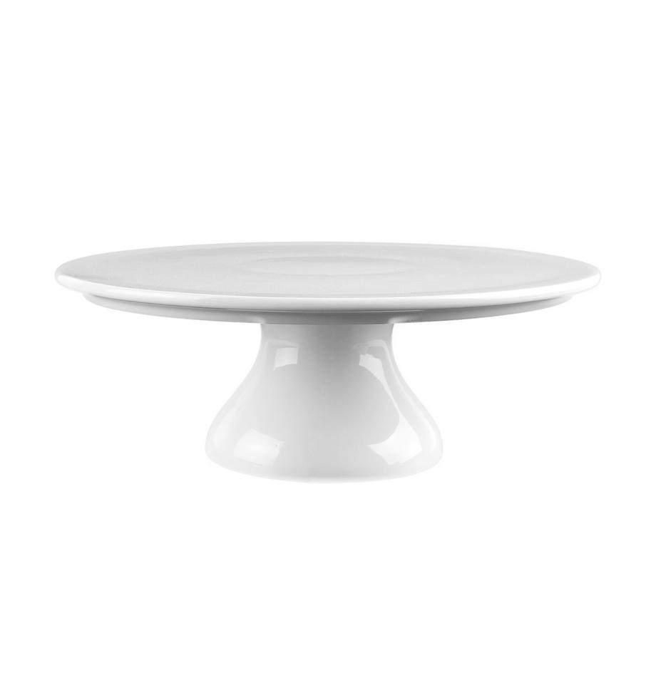 Kleine porseleinen taartplateau Fonia, Ø 24 cm, Porselein, Wit, Ø 24 x H 9 cm