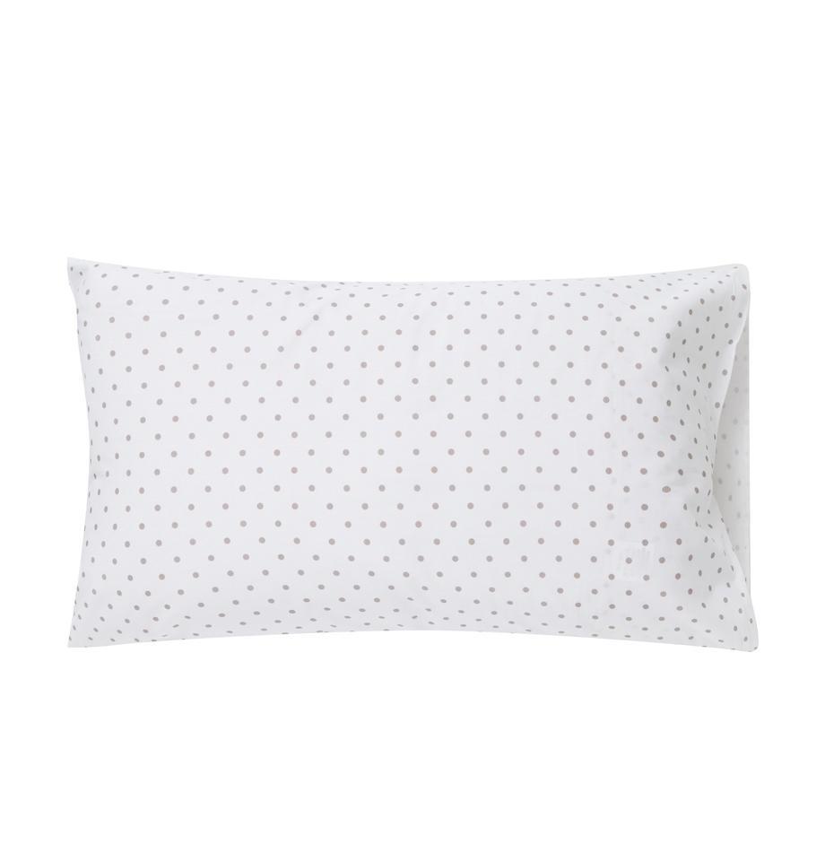 Fundas de almohada Febo, 2uds., Algodón, Blanco, gris, An 50 x L 80 cm