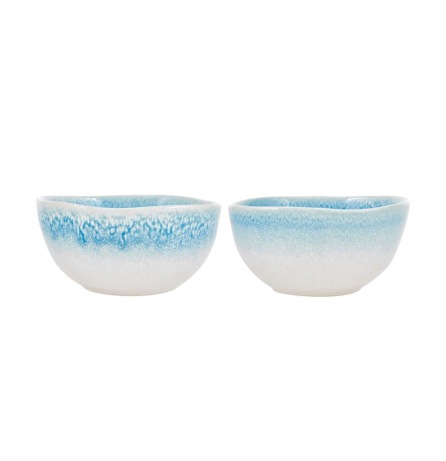 Boles artesanales Amalia, 2uds., Cerámica, Azul claro, blanco crema, Ø 14 x Al 7 cm