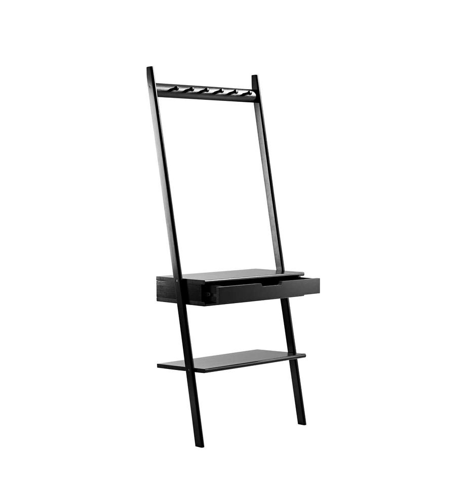 Ladderrek Noble, Bamboehout, gelakt en gecarboniseerd, Zwart, 70 x 180 cm