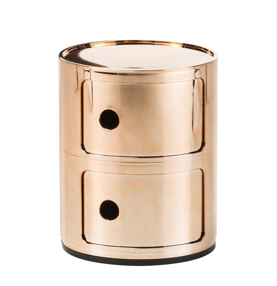 Design bijzettafel Componibile, 2 vakken, Metallic gecoat kunststof, Koperkleurig, Ø 32 x H 40 cm