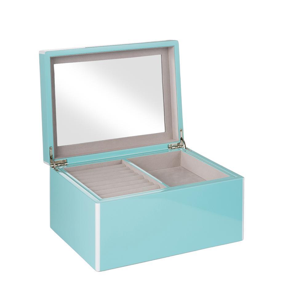 Schmuckbox Taylor mit Spiegel, Unterseite: Samt zur Schonung der Möb, Hellblau, 26 x 13 cm