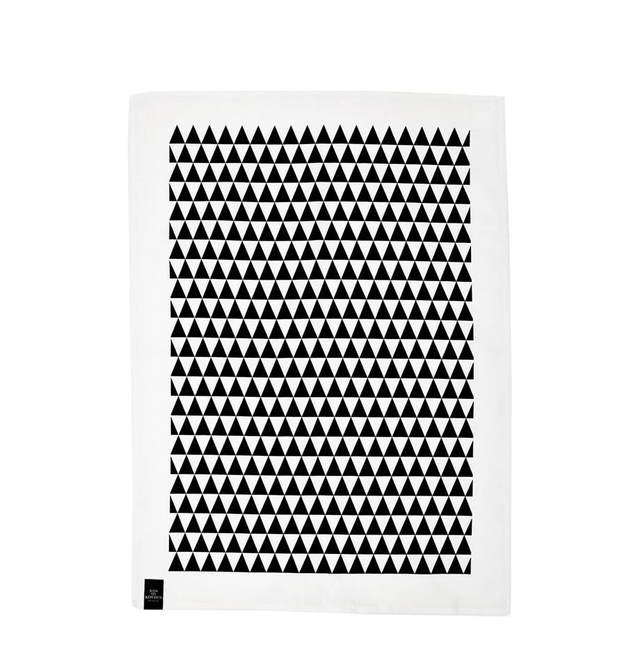 Canovaccio Dreieck 2 pz, 50% lino, 50% cotone, Bianco, nero, Larg. 50 x Lung. 70 cm