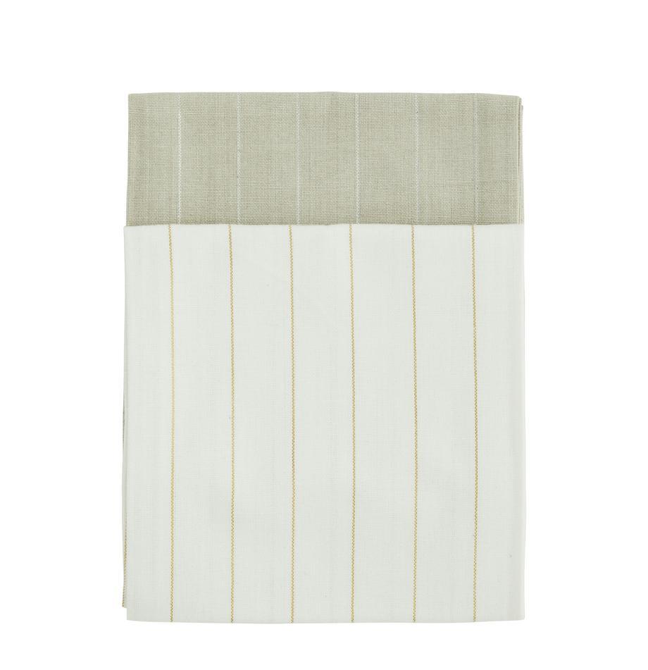 Baumwoll-Geschirrtücher Lines mit silber- und goldfarbenen Linien, 4er-Set, 100% Baumwolle, Lurexfaden, Beige, Creme, 50 x 70 cm