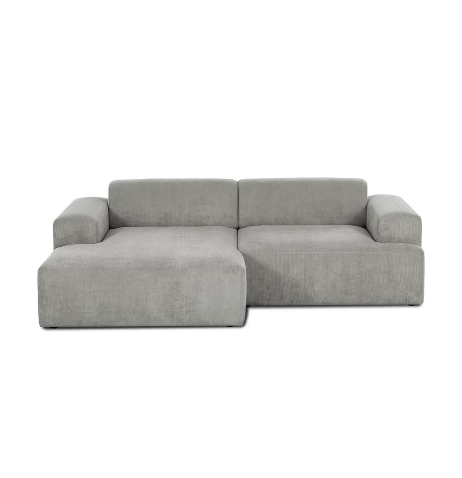 Cord-Ecksofa Melva (3-Sitzer) in Grau, Bezug: Cord (92% Polyester, 8% P, Gestell: Massives Kiefernholz, Spa, Cord Grau, B 240 x T 144 cm