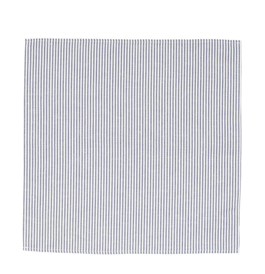 Stoff-Serviette Streifen aus Halbleinen, Weiß, Blau, 45 x 45 cm