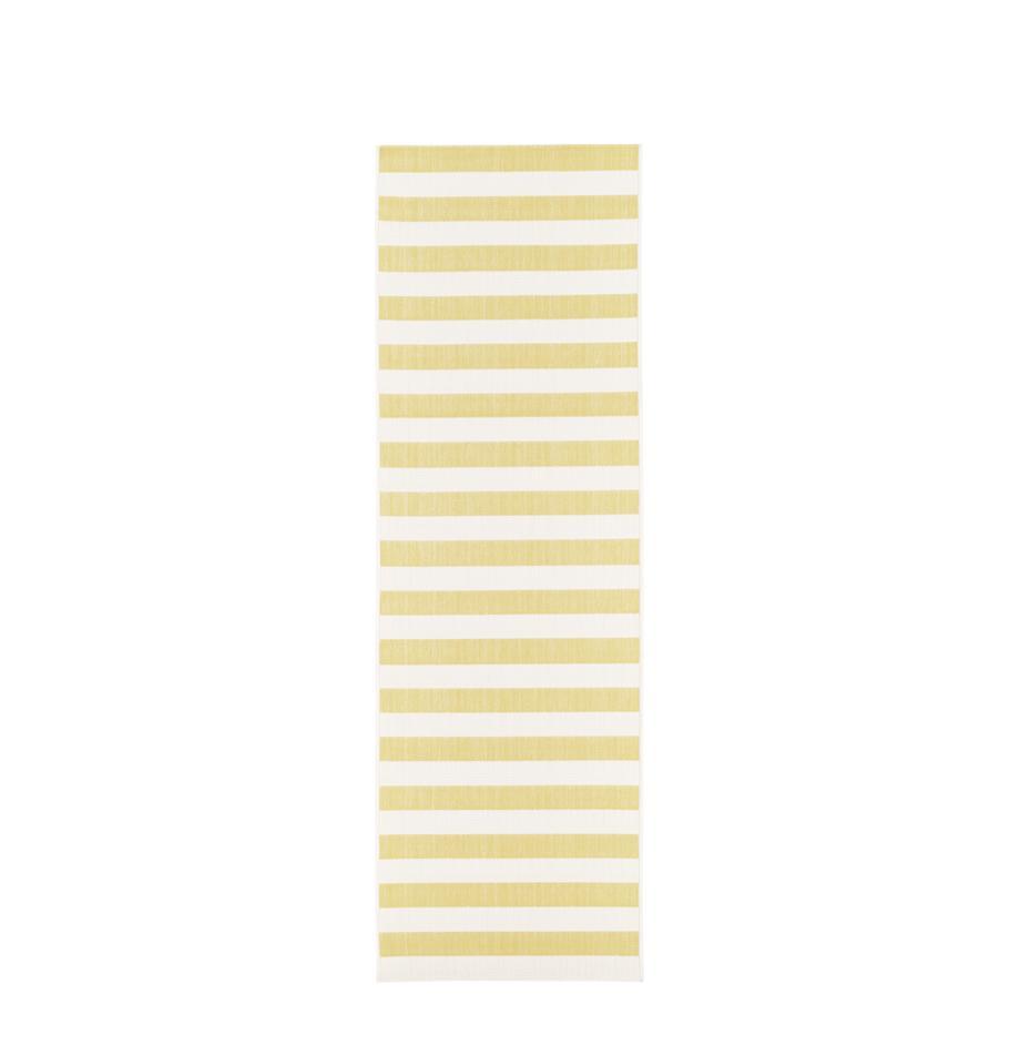 Gestreifter In- & Outdoor-Läufer Axa in Gelb/Weiss, Flor: 100% Polypropylen, Cremeweiss, Gelb, 80 x 250 cm