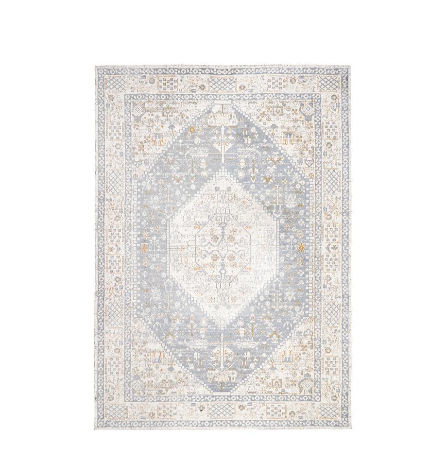 Handgewebter Chenilleteppich Neapel im Vintage Style, Flor: 95% Baumwolle, 5% Polyest, Taubenblau, Creme, Taupe, B 120 x L 180 cm (Grösse S)