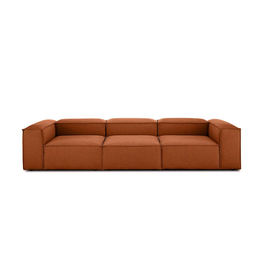 Sofá modular Lennon (4plazas), Tapizado: poliéster Alta resistenci, Estructura: madera de pino maciza, ma, Patas: plástico, Tejido terracota, An 326 x F 119 cm
