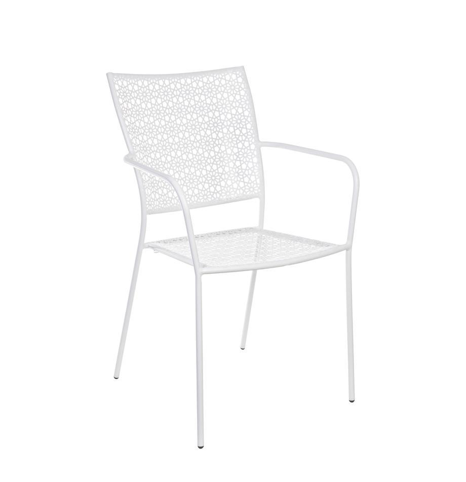 Garten-Armlehnstuhl Jodie aus Metall, Stahl, epoxy-pulverbeschichtet, Weiss, 57 x 89 cm