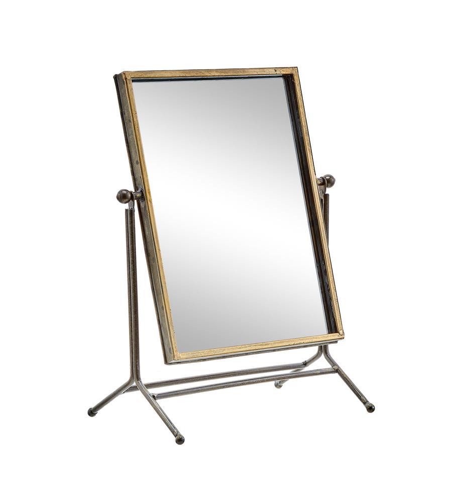 Specchio cosmetico Antique, Cornice: metallo rivestito, Superficie dello specchio: lastra di vetro, Ottonato, Larg. 33 x Alt. 44 cm