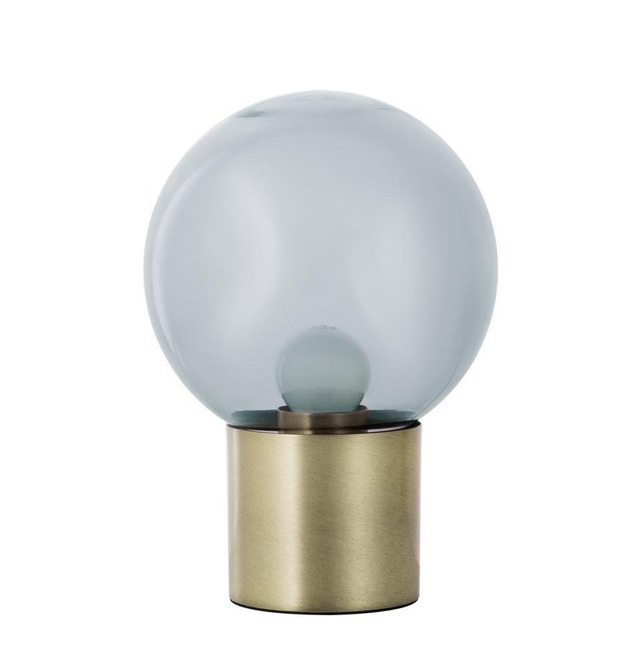 Kleine Retro-Tischlampe Lark aus Glas, Lampenschirm: Glas, Lampenfuß: Metall, gebürstet, Lampenschirm: Grau, transparentLampenfuß: Messingfarben, matt, Ø 17 x H 24 cm