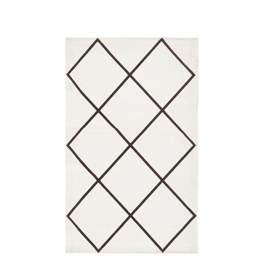 Flachgewebter Baumwollteppich Farah mit Rautenmuster, 100% Baumwolle, Cremeweiss, Schwarz, B 50 x L 80 cm (Grösse XXS)